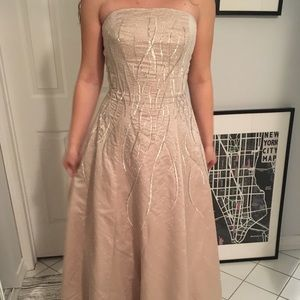 Champagne beaded floor length ball gown